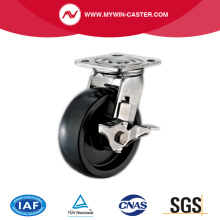 Braked PU Plate Swivel Stainless Steel Caster