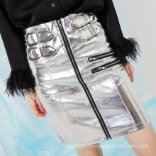 Autumn Superior Quality Zipper Lady Leather Skirt