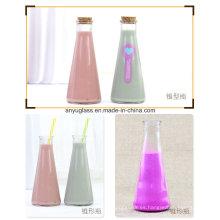 350ml Botella de vidrio de la leche de jugo de la decoración de la bebida redonda con el corcho