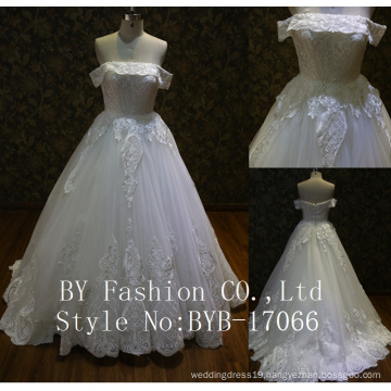 Nigerian wholesale high quality embroidered sequined tulle lace fabric small train wedding gown