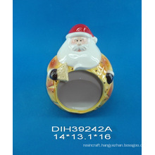 Hand-Painted Ceramic Santa Cookie Holder