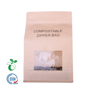 Borsa da caffè biodegradabile con finestra in carta Kraft Eco