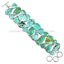 Natural Tibetan Turquoise Gemstone & 925 Sterling Silver Designed Handmade Bracelet