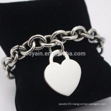 Stainless Steel Blank Silver Love Heart Charm Chain Bracelet