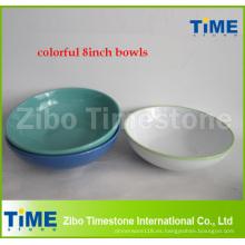 Cuenco de gres de cerámica de 8 pulgadas de colores