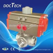 Válvula de bola 3 vías con actuador neumático venta caliente en Europa y América