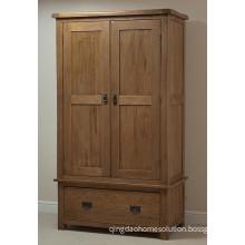 Solid Oak Wood Antique Wardrobe with 2 Doors/Wooden Bedroom Furniture