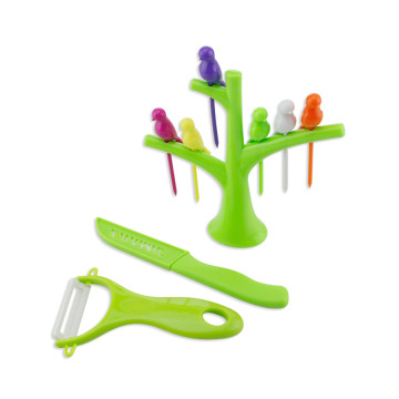 Vogel-Baum-Cocktail-Frucht-Gabeln-Messer Peeler Set