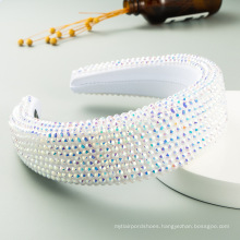 Fashion temperament handmade beaded high-end luxury inlaid with resin diamonds crystal wide-brimmed sponge headband for party