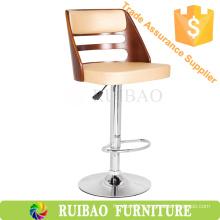 SOAMOE White Leather Swivel Wooden Bar Chair