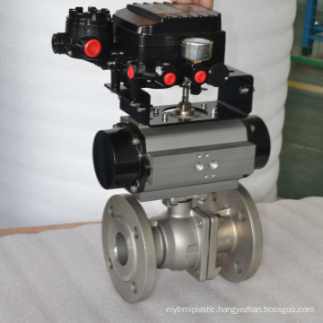 ss304 flange pneumatic ball control valve with air filter relief pressure valve