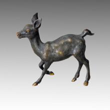 Animal Brass Statue Running Deer Bronze Sculpture Tpal-031