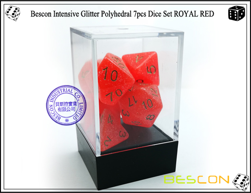 Bescon Intensive Glitter Polyhedral 7pcs Dice Set ROYAL RED-3