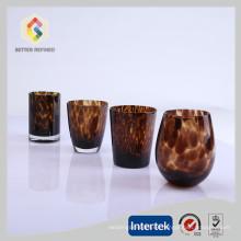 Venta caliente copas de cristal con estampado de leopardo