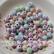 Round solid wash acrylic beads with cross pattern