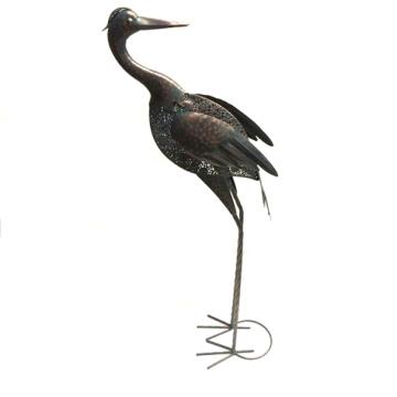 Rusty Metal Absorbing Crane Animal Home and Garden Decoration