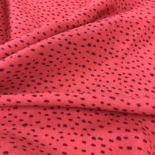 Warm Red Flower Viscose Crinkle Printed Fabric