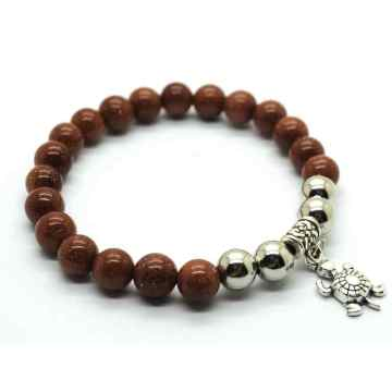 Natural Goldstone Bracelet Gemstone Beads jewelry alloy pendants