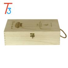 empacotamento de madeira do pinho caixa do enigma do armazenamento da caixa do vinho
