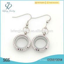 Neuer Entwurfsgroßverkauf 25mm schwimmender Kristallgedächtnis locket Ohrring für Frauen