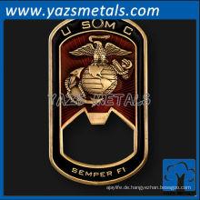 fertigen Sie Metallhundetiketten besonders an, kundenspezifische Qualität USMC Hundetikett geformter Flaschenöffner