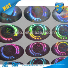 Hojas etiqueta de holograma, sello de etiqueta holograma personalizado ronda para cajas