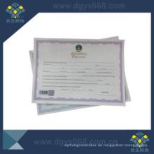 Heißprägefolie Papier Zertifikat