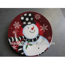 KC-02537beautiful plate with snowman design,round ceramic pizza/cake plates