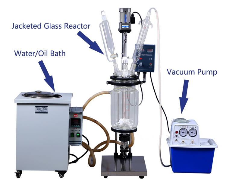 1L Small Volume Chemical Jacketed Stirred Glass Reactor