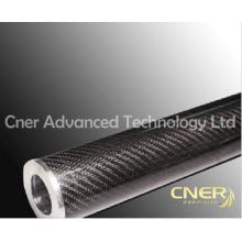 Rouleau en fibre de carbone de haute qualité, tube en fibre de carbone de tissu d'armure brillant 3K