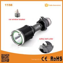 1158 Neues Design! Weinlese Xm-L T6 LED Ultra Power Aluminium Taschenlampe mit Hammer und Gürtel Cutter