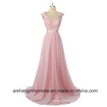 Bridesmaid A Line Cap Sleeve Long Lace Wedding Party Dress