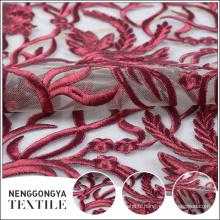 Oem service de mode net broderie décorative dentelle de tulle rouge foncé
