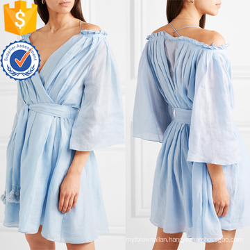 Blue Off-The-Shoulder Ruffled Ramie Wrap Mini Summer Dress Manufacture Wholesale Fashion Women Apparel (TA0284D)