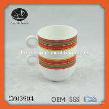 Nueva taza que acampa, taza de cerámica con la impresión, taza apilable de cerámica