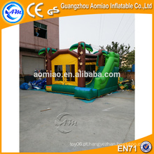 Outdoor, combo, inflável, bouncers, casa, palma, árvore