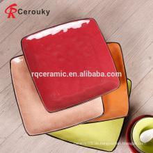 Fabrik Direktverkauf bunte quadratische Keramikplatte mit schwarzer Felge