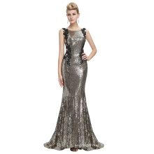 Starzz 2016 Sleeveless Pale Golden Backless Shining Sequins Long Formal Evening Dress ST000072-2