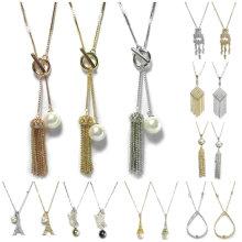 Collar de joyería con cuentas de imitación de perlas collar de cristal colgante Collar de joyas de moda nupcial de la mujer Set 925 Collar de oro de cadena de joyas de plata esterlina