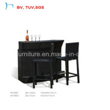 Black Rattan Elegant Cozy Furniture Outdoor Coffee Set (8019BT+8019BC)