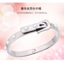 Moda jóias pulseira de aço inoxidável fivela