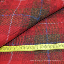 Red plaid harris tweed 100% organic wool fabric sell in alibaba in china