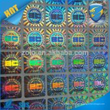 Adesivo destrucvível holograma / adesivo de casca de ovo holográfico