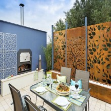 Corten Rusted Steel Decorative Garden Screen