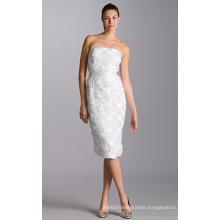 Sheath Column Strapless Knee-length Organza Belt Appliques Wedding Dress