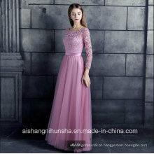 Lace Tulle Bridesmaid Dresses 3/4 Manga Apliques Mulheres dama de honra Vestidos
