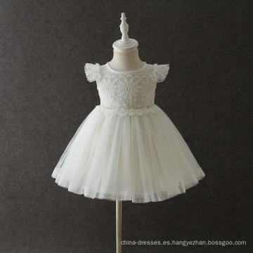 2018 de alta calidad de las muchachas del bebé revolotean el vestido de la colmena del cordón de la manga ropa al por mayor de los cabritos boutique de los niños vestidos de moda