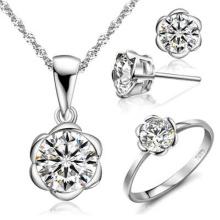 Conjunto de jóias de diamante único Jóias de prata 925 grossistas