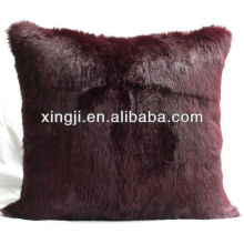 dyed brown color rabbit fur cushion for sofa