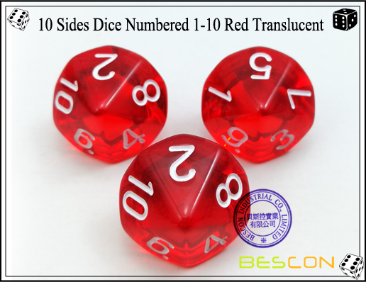 10 Sides Dice Numbered 1-10 Red Translucent-1
